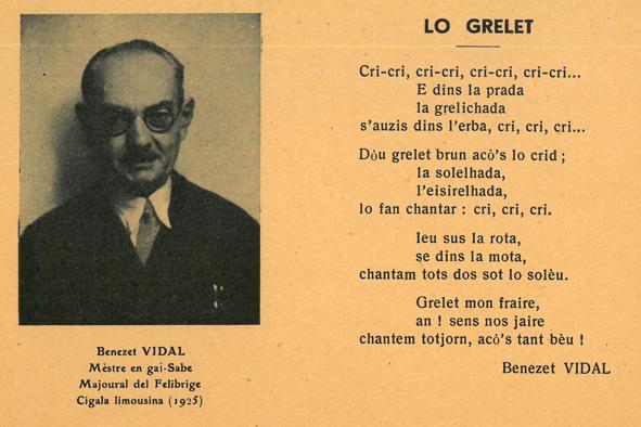 Benezet Vidal, « Lo Grelet », carte-poème, ed. Seix (Ariège) : Escolo deras Pireneos, vers 1930. Coll. CIRDÒC, IC-F/2. IMG-2 légende : Benezet Vidal, « Lo Grelet », carte-poème, ed. Seix (Ariège) : Escolo deras Pireneos, vers 1930. Coll. CIRDÒC, IC-F/2.